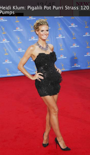 Heidi Klum, strapless little black dress, louboutin shoes