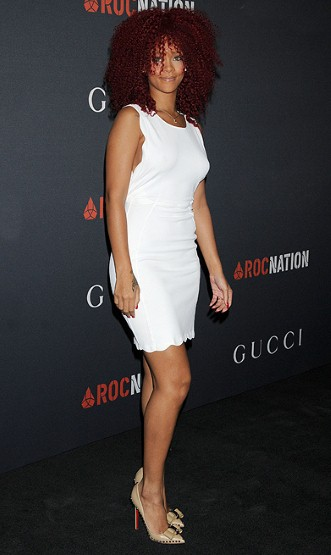 RIHANNA Long natural hair,white dress, nude louboutin stiletto shoes
