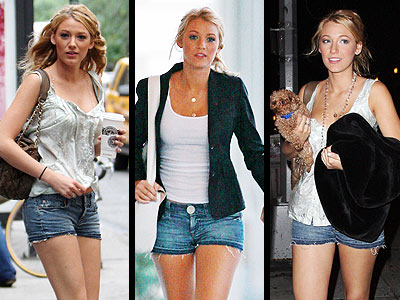 Blake Lively, street style, jean shorts