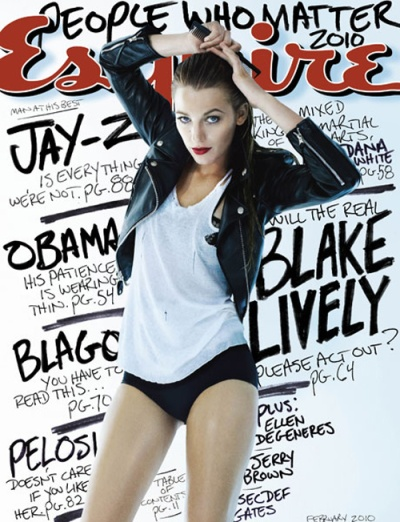 Blake Lively Esquire cover, hot pants, leather jacket