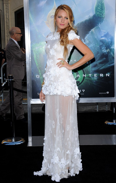 Blake lively 2011, white Chanel see-through dress, Louboutin shoes
