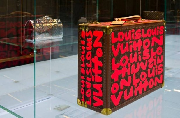 Louis Vuitton at the National Museum of China, suitcase with red graffiti