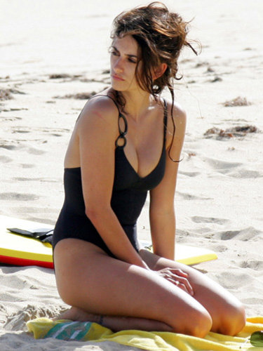 Penelope Cruz, 2011, beach, black swimsuit
