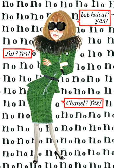 Anna Wintour illustation style icon bob, sunglasses and green suit