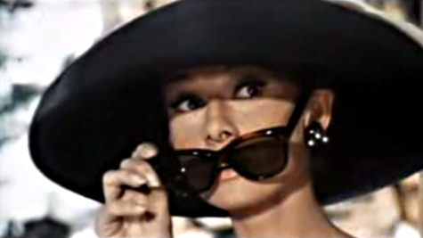 Audrey Hepburn wears the iconic sunglasses Breakfast Tiffany's
