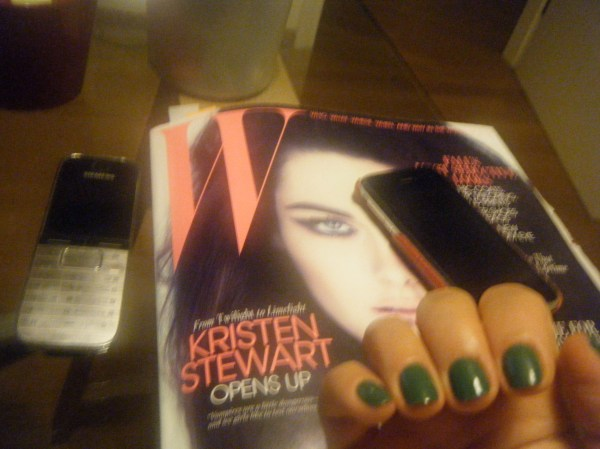 W magazine and green nails