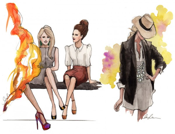 Trendy Street Style Fashion Illustration By Inslee Haynes